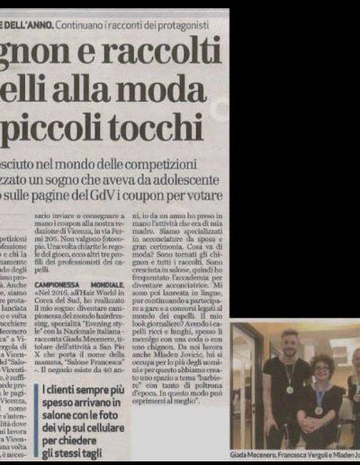 Giada Mecenero Parrucchiere dell'anno 2018 Provincia di Vicenza